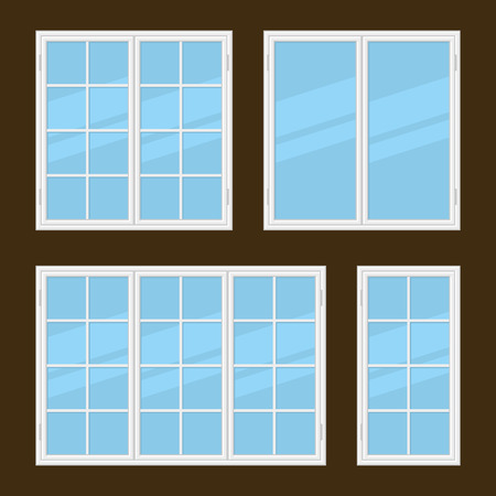 hung: Flat Style Windows Types Set. Vector illustration