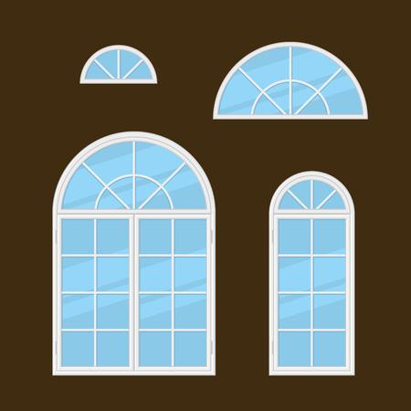 casement: Flat Style Windows Types Set. Vector illustration