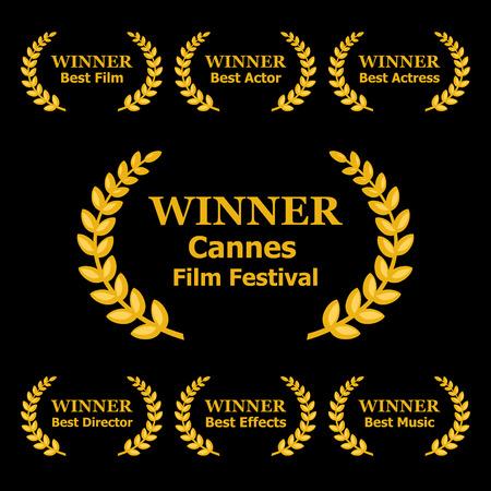 feature films: Film Awards Winners Laurels on Black Background.