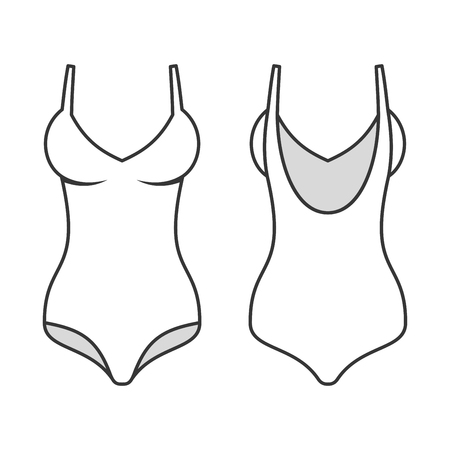 swimming suit: Woman Swimming Suit, Line Style Swimsuit. Illustration