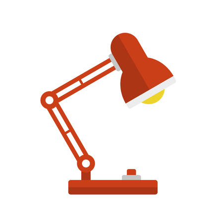 desk light: Red Desk Lamp Light Icon. Flat Style. Illustration