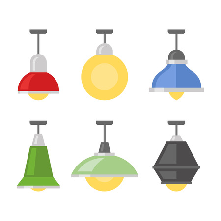 Lamps Set on White Background. Illustration