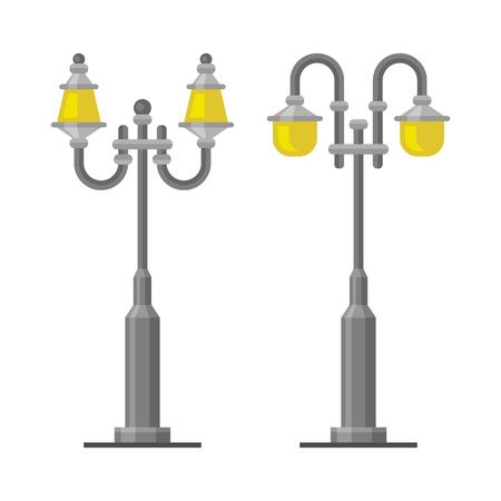edwardian: Street Lamp Light Posts Set on White Background. Illustration