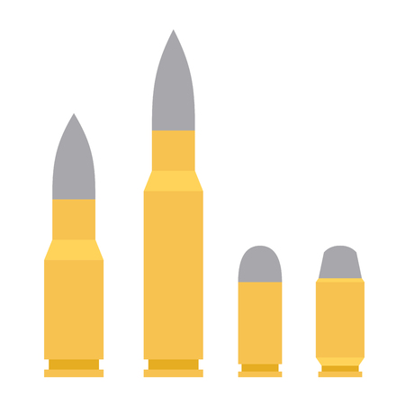 Weapon Bullet Icons Set isolated on White Background. Vector illustration