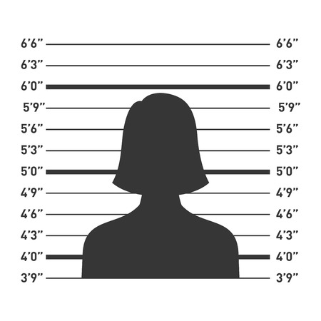 female prisoner: Police Lineup with Woman Silhouette. Vector illustration Illustration