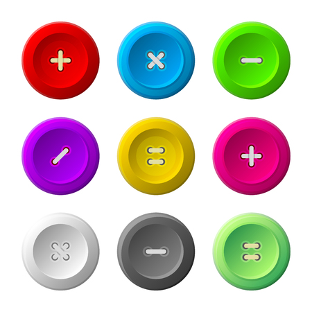 sewing buttons: Sewing Buttons Set on White Background. Vector illustration Illustration
