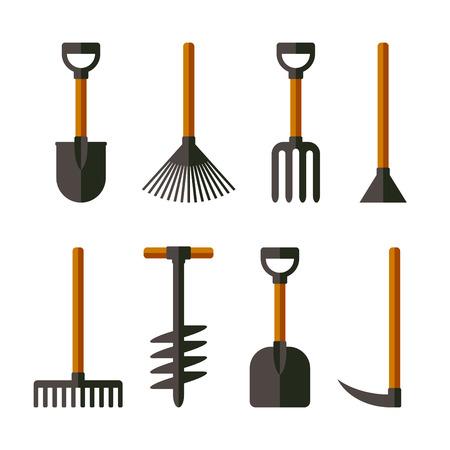 garden hose: Garden Tools Set on White Background. Vector Illustration