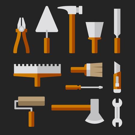 pegboard: Tools Set for Home Repair. Vector illustration