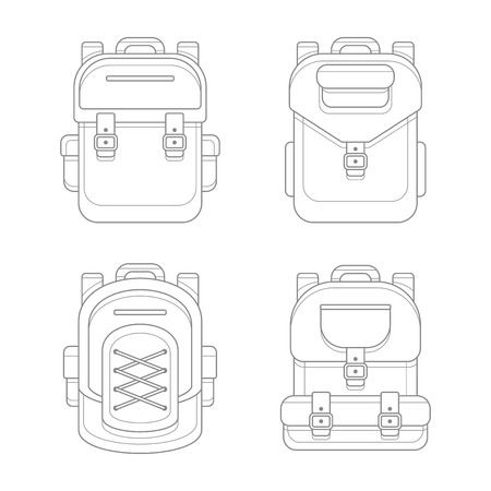 backpack: Fashionable Urban Backpack Bags. Line Art Style. Vector illustration