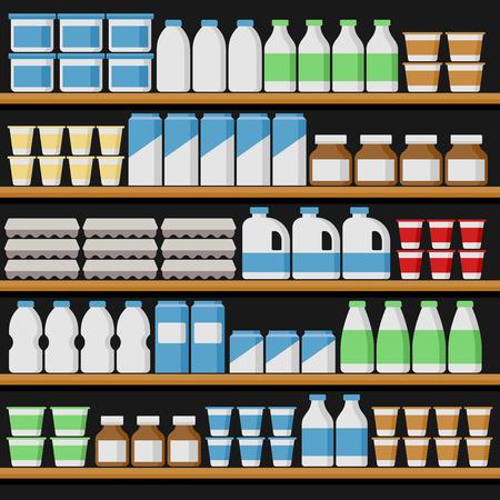 Supermarket. Shelfs with Milk Products. Vector illustration