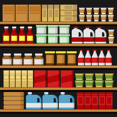 shelfs: Supermarket. Shelfs Shelves with Products. Vector illustration