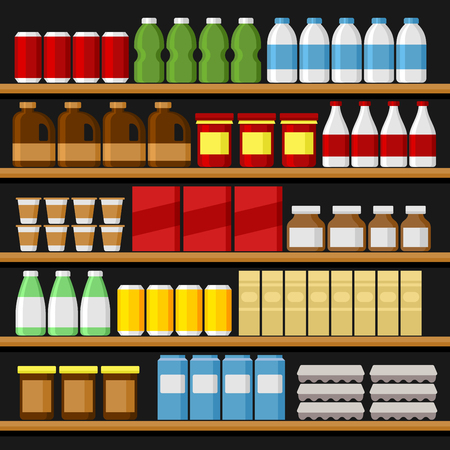 edibles: Supermarket. Shelfs Shelves with Products and Drinks. Vector illustration
