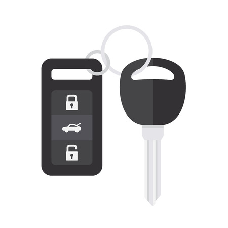 Car Key with Remote Control on White Background. Flat Style. Vector illustration