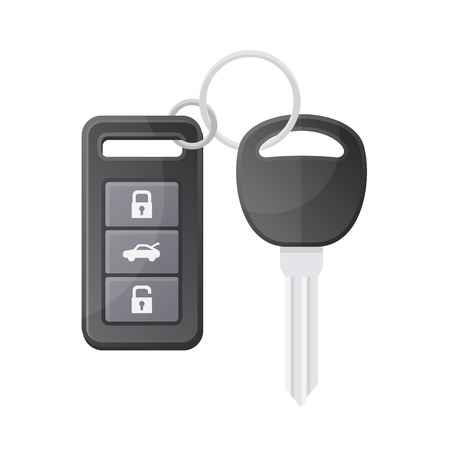 starter: Car Key with Remote Control on White Background. Vector illustration
