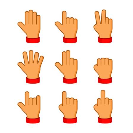Hands Icons Set on White Background. Emoji Vector illustration Illustration