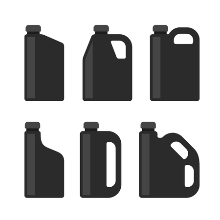 lubricant: Blank Black Plastic Canisters Icons Set for Motor Machine Oil. Vector illustration