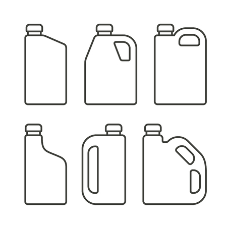 lubricant: Blank White Plastic Canisters Icons Set for Motor Machine Oil. Vector illustration Illustration