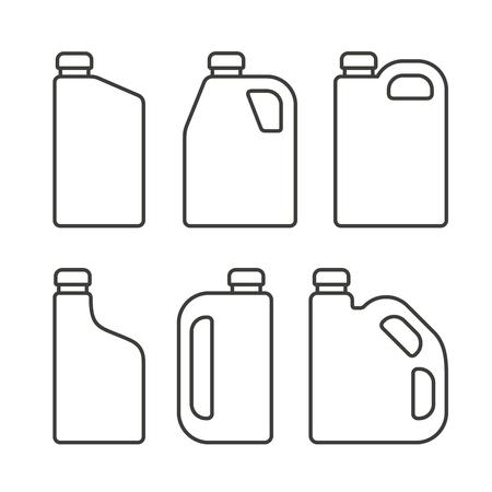 machine oil: Blank White Plastic Canisters Icons Set for Motor Machine Oil. Vector illustration Illustration