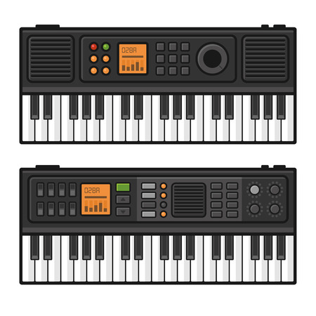 piano roll: Piano Roll Digital Synthesizer. Midi Keyboard Set on White Background. Vector illustration Illustration