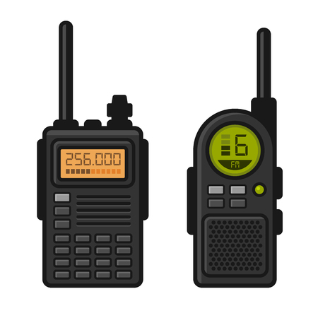 Radio Set Transceiver with Antenna Receiver. Vector illustration