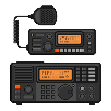 transceiver: Police Car Radio Transceiver Set. Vector illustration Illustration