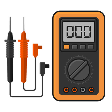 amperage: Digital multimeter. Electrical Measuring Instrument Voltage Amperage Ohmmeter and Power. Vector Illustration