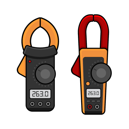 current: Digital Current Clamp Meter. Electrician power tools. Vector illustration Illustration