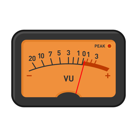 input output: Analog Volume Unit Meter Measuring Device. Vector illustration