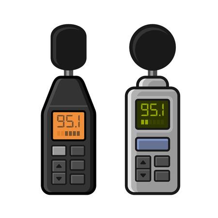 ruido: Configuración del medidor de nivel de sonido en el fondo blanco. ilustración vectorial Vectores
