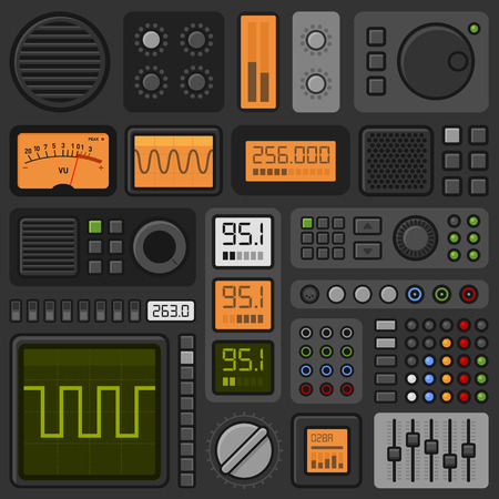 indicator panel: Control Panel UI User Interface HUD Set. Vector illustration