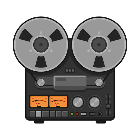 music machine: Vintage Analog Stereo Reel Deck Tape Recorder. Vector illustration