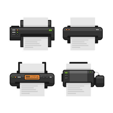 printed machine: Printer Icon Set. Flat Style. Vector illustration