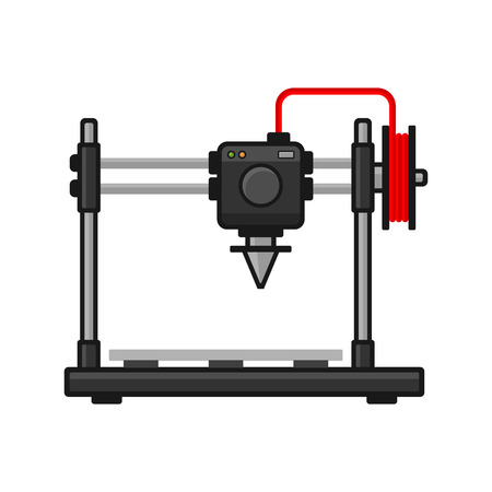 3d Printer on White Background. Vector illustration