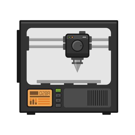Drukarka 3D na Białym Tle. Ilustracji wektorowych