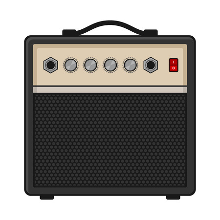 transistor: Amplificador de la guitarra eléctrica en el fondo blanco. ilustración vectorial