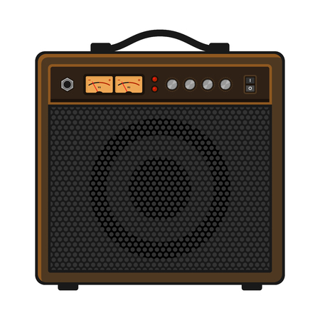overdrive: Electric Guitar Amplifier on White Background. Vector illustration