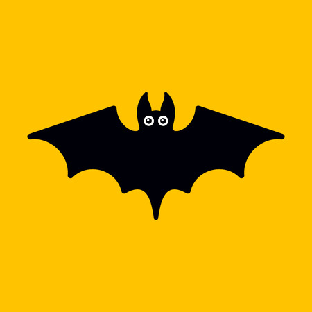 Cartoon Bat on Orange Background. Vector illustration