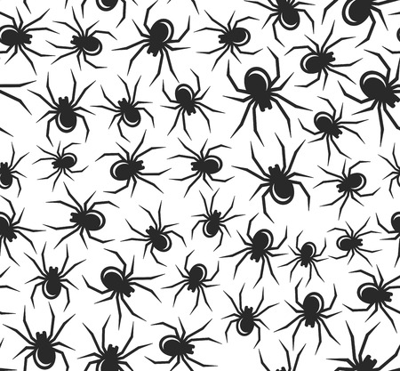 arachnophobia: Black Halloween Spiders Seamless Pattern. Vector Illustration Illustration