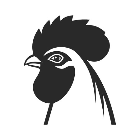 cockerel: Cock Icon Sign. Rooster 2017 Year Symbol. Vector illustration