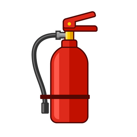 suppression: Fire Extinguisher Icon. Flat Style. Vector illustration