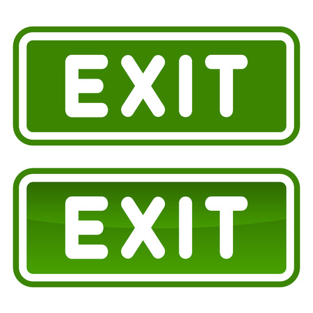 green exit emergency sign: Green Emergency Exit Sign Set on White Background. Vector illustration Illustration