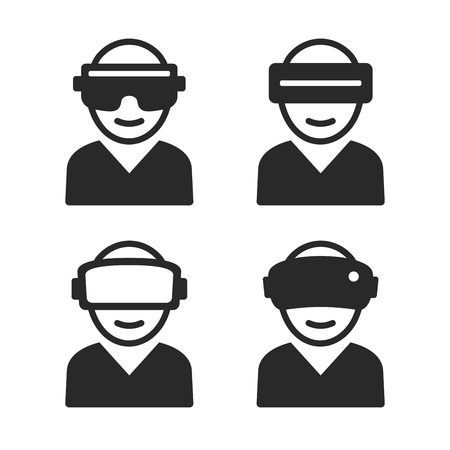 users video: Virtual and Augmented Reality Icon Set. Vector illustration Illustration