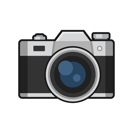 camera: Retro Photo Camera Icon on White Background. Vector illustration