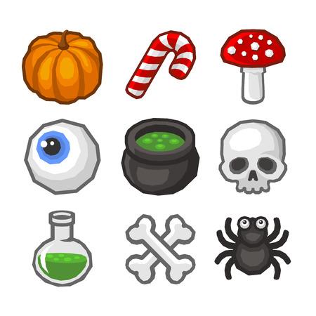 poltergeist: Cartoon style Halloween Icon Set. Vector illustration