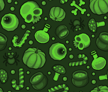 Green Halloween Seamless Pattern Background with Spider, Skull, Pumpkin, Candy, Bones and Eye. Vector