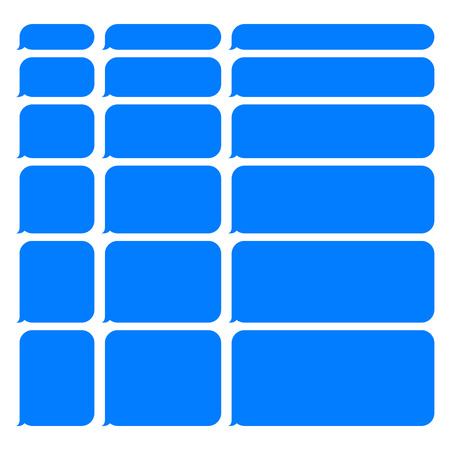 short message service: Blue Smartphone SMS Chat Blank Bubbles Set. Vector Illustration