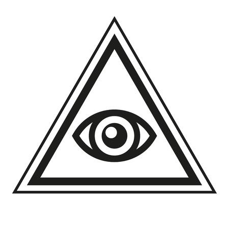 Symbole maçonnique. All Seeing Eye Inside Pyramid Triangle Icône. Vector illustration