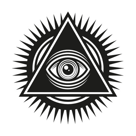 Masonic Symbol. All Seeing Eye Inside Pyramid Triangle Icon. Vector illustration  イラスト・ベクター素材