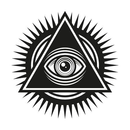 Masonic Symbol. All Seeing Eye Inside Pyramid Triangle Icon. Vector illustration Illustration