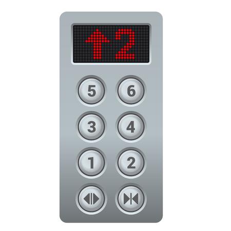 Solver Steel Elevator Buttons Panel. Illustration vectorielle